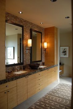 bathroom - tile behind mirrors and mirrors