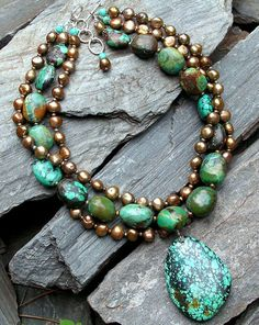Turquoise nuggets and bronze freshwater pearls