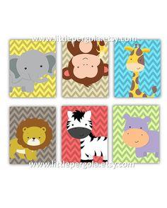Kids Art Prints Cute Safari Nursery Art Prints by LittlePergola, $84.00