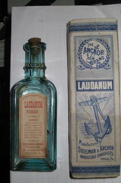 Laudanum was a wildly popular drug during the Victorian era. It was an opium-based painkiller prescribed for everything from headaches to tuberculosis - dosage listed from 3 month olds to adults! Antique Bottles, Vintage Bottles, Bottles And Jars, Glass Bottles, Vintage Advertisements, Vintage Ads, Old Medicine Bottles, Le Far West, Medical History