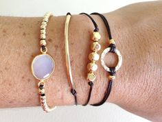 Gold Friendship Bracelet  with Tube and Semi Precious Stone in an Adjustable Cord on Etsy, $29.99