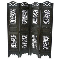 Phat Tommy Zebra Animal Print Room Divider Screen, Zebra Print, x x in. - Zebra Print, x x in. Animal Print Rooms, Animal Print Decor, Animal Prints, Wood Room Divider, 4 Panel Room Divider, Room Dividers, Zebra Print Bedroom, Zebra Bedrooms, Zebra Nursery