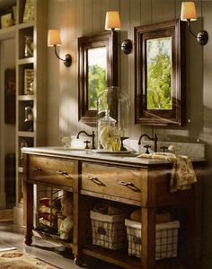 rustic double bathroom sinks and mirrors