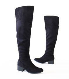 782372e5385 Trendy Soft Mico Faux Suede Over The Knee High Flat Western Boots Black   TrendyOak