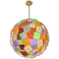 One of a Kind 1970s Italian Grand Sphere Colorful Murano Glass Chandelier   From a unique collection of antique and modern chandeliers and pendants  at cosulichinteriors.com