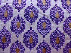 Purple Gold Flowers Printed Indian Fabric White Cotton Block Print One Yard