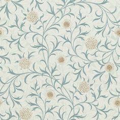 Papperstapet med flexotryck. Mönster från sent 1800-tal och Arts & Craftsrörelsen. Rapportlängd 61 cm.