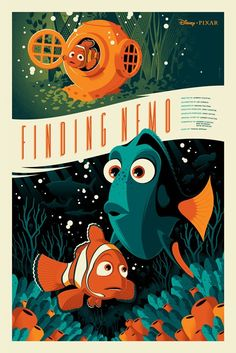 Pixar Disney Tom Whalen Mondo Poster Affiche Nemo Plus Disney Vintage, Retro Disney, Art Disney, Disney Kunst, Disney Love, Disney Magic, Modern Disney, Tom Whalen, Disney E Dreamworks