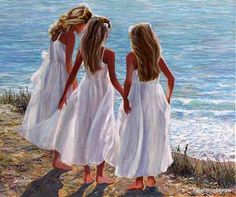 three sisters on beach white dresses painting - Google Search