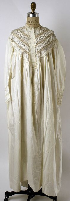 """An 1860s nightgown--not very different from what """"my"""" Clare might wear in the mid-50s. Elaborate by our standards, but a dream of ease compared to her day clothing."""