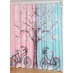 Blue and Pink Tree Patterned Beautiful Princess Curtains Modern Curtains, Colorful Curtains, Princess Curtains, Home Tex, Kitchens And Bedrooms, Pink Trees, Beautiful Curtains, Home Board, Velvet Curtains