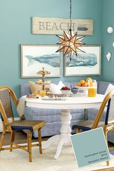 Looking for paint inspiration? Find all of the paint colors from the Ballard Designs Summer 2015 catalog Coastal Paint Colors, Coastal Decor, Decoration Inspiration, Painting Inspiration, Coastal Living Rooms, Ballard Designs, Beach House Decor, Beach House Furniture, House Colors
