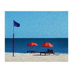 759574fb7d97 Nautical Print Red Beach Umbrellas Colorful Beach Art Coastal Wall Decor