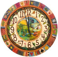 Round Wall Clock – Beautiful and bright four seasons round wall clock Painted Chairs, Hand Painted Furniture, Paint Furniture, Clock Painting, Clock Art, Mirror Painting, Diy Clock, Faux Painting, Wall Clocks