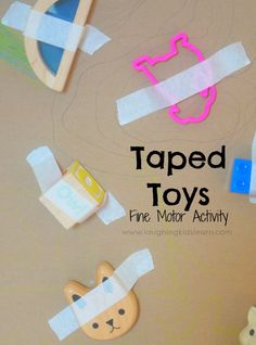 Fun & Easy Activities for 1 Year Olds - Busy Toddler Taped toys fine motor activity for toddlers and preschoolers Toddler Fine Motor Activities, Activities For 1 Year Olds, Motor Skills Activities, Infant Activities, Fine Motor Activity, Activites For Toddlers, Infant Games, Learning Activities For Toddlers, 10 Month Old Baby Activities