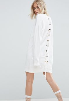 Shop ASOS Sweat Dress With Lace Up Back. With a variety of delivery, payment and return options available, shopping with ASOS is easy and secure. Shop with ASOS today. Daily Fashion, Love Fashion, Fashion News, Fashion Online, White Going Out Dresses, Sweat Original, Sweat Dress, Asos Fashion, Asos Dress