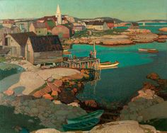 "Stanley Royle - ""Evening Light, Fishing Village of Prospect, Nova Scotia, Canada"""