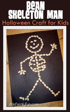Bean Skeleton. Easy Halloween craft for kids.