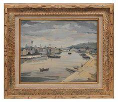 150300096 - SYLVIO PINTO (1918-1997) Paisagem com barcos. Óleo s/ tela. Ass. cie. Med. 50 x 61 cm.