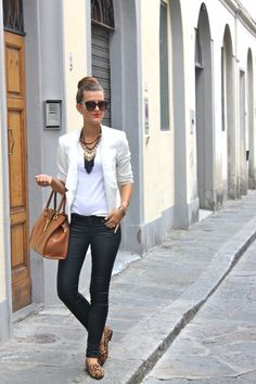White blazer & top, black skinny jeans, leopard shoes, brown handbag, black & gold  jewelry