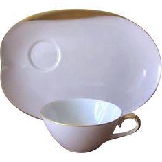 Vintage 1950's / 1960's Pink & Gold Noritake Teacup and Snack Plate Set at whimsicalvintage.rubylane.com