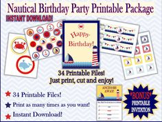 Check out INSTANT DOWNLOAD! Printable Ahoy Matey Nautical Birthday Party Package with *bonus* Printable Invitation! DIY package on hootandannee