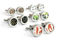 Cuff Links made out of part of your wedding invite!? Ok, this is just an adorable First Year Wedding Anniversary Gift! Check out more perfect gift ideas for your spouse to make that one year anniversary perfect!   Wedding Anniversary   Ideas   Planning   First Year   Presents   www.templesquare.com/weddings/blog