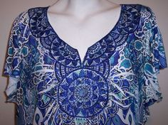 Apt 9 Top 3X Stretch Knit Blue White Beaded Sublimation Tunic Shirt Plus Size 3X #Apt9 #KnitTop #Casual