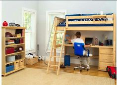 loft bed with desk | Powell Teen Trends Full Size Metal Loft Bed ...