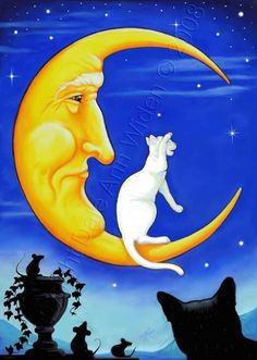 Cat Man in the Moon Silhouette Romeo Juliet by DeLaRenaissance