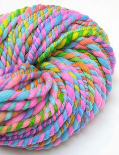 Handspun rainbow yarn in hand dyed merino wool