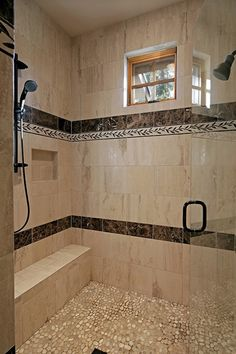 Walk In Shower Pebble Floor Pebble Tile Shower Floor, Traditional Baths, Shower Remodel, Bathroom Design Small, Walk In Shower, White Bathroom, Beautiful Bathrooms, Flooring, Home