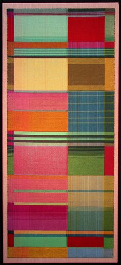 Gretchen Romey-Tanzer | Garden | double weave | mercerized cotton | 36″ x 16″ |  Orleans, Massachusetts, U.S.A. | c. 2011 Note influence of Bauhaus weavers  I love the wonderful varied geometric blocks, this is a wonderful abstract pattern