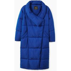Quilted Long Coat (6.810 RUB) ❤ liked on Polyvore featuring outerwear, coats, quilted coat, blue quilted coat, long blue coat, mango coats and long coat
