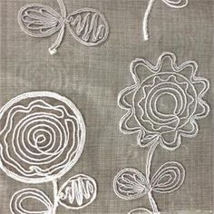 Adeline Pewter Embroidered Contemporary Floral Fabric