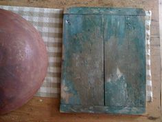 19Th C Early Painted Breadboard in the Best Blue Paint. 1800primitives