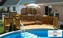 Patio Design - Construction & Design of Patios for a pool My Pool, Swimming Pools Backyard, Swimming Pool Designs, Pool Landscaping, Pool Deck Plans, Patio Plans, Above Ground Pool Decks, In Ground Pools, Mobile Home Exteriors