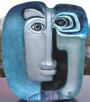 Mats Jonasson Art Glass Sculpture Ideo Blue