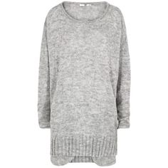 D.Efect Garey Light Grey Sweater ($205) ❤ liked on Polyvore featuring tops, sweaters, light grey sweater, light gray sweater, round neck sweater, over sized sweaters and oversize sweater
