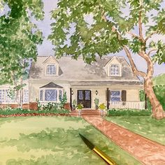 Hand painted watercolor house portrait Christmas gift 🎁 House Paintings, Realtor Gifts, Hand Sketch, Watercolor Artwork, Cool Lighting, Wedding Locations, Custom Paint, That Way, Custom Homes