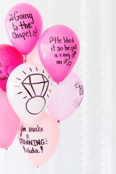 DIY Pink Balloon Wishes for the Bride-to-Be. {perfect decor for a shower or bachelorette}