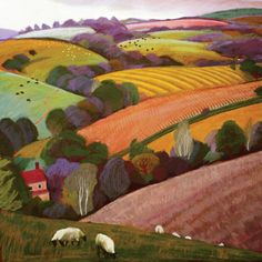 Summer, Castle Pulverbatch by Sue Campion, Fine Art Greeting Card, Pastel, Landscape with Sheep Art And Illustration, Illustrations, Landscape Artwork, Pastel Landscape, Greeting Cards Uk, Mary Engelbreit, Naive Art, Art Lessons, New Art