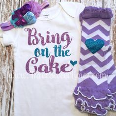 Items similar to Birthday Outfit Bring On The Cake Glitter Bodysuit Drawing Pictures For Kids, Glitter Bodysuit, Warm Headbands, Cake Smash Outfit, Girl Birthday, Birthday Ideas, Kids Shirts, First Birthdays, Kids Outfits