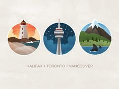 Really nice illustration on 3 different Canadian cities by Geri Coady