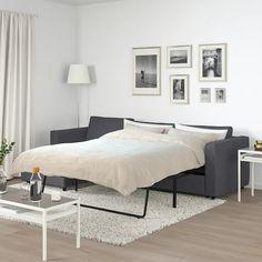 VIMLE Sleeper sofa, with chaise/Gunnared medium gray - IKEA 3 Seat Sofa Bed, Sofa Bed Frame, Sofa Bed With Chaise, Sofa Back Cushions, Sofa Bed Mechanism, Ikea Vimle, Convertible 2 Places, Cosy Sofa, Ikea Family