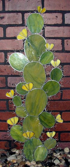 Large stained glass cactus of my own design. Copyright pending.    Each one of my creations is a little different, no two will be exactly alike.
