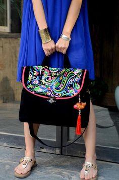 Embroidery bag folk style bag bag canvas bag Handmade embroidery bag purseHand Made Embroidery Great Floral Pattern Tote Bag. $45.99, via Etsy.