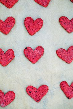 Heart-shaped beet cookies cut out on baking sheet Valentine Status, Valentines Day Hearts, Be My Valentine, Love Beets, Fresh Beets, Natural Food Coloring, Pink Food Coloring, Sour Cream Icing, Vegetable Prints