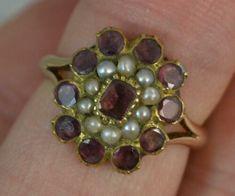 Gold Garnet Cluster Ring for sale online Gold Rings, Gemstone Rings, Garnet Rings, Gold Hair, Gold Platinum, Cluster Ring, Stacking Rings, Georgian, Opal