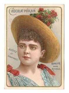 Jeune femme  Chapeau bouquet fleur  - - Chromo Chocolat Poulain - Trade Card